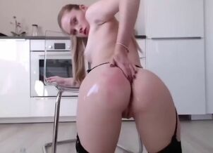 Blonde riding dildo